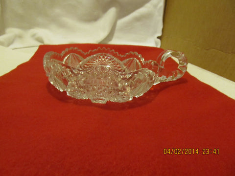 VINTAGE NUCUT NAPPY WITH HANDLE AND FLUTED EDGES MADE IN THE USA BY IMPERIAL GLASS CO. - Andres James Vintage Boutique - 1