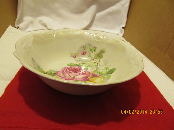 VINTAGE FLORAL DESIGN SERVING BOWL MADE IN BAVARIA - Andres James Vintage Boutique - 1
