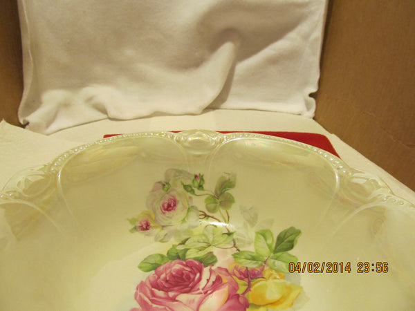 VINTAGE FLORAL DESIGN SERVING BOWL MADE IN BAVARIA - Andres James Vintage Boutique - 3