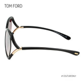 Tom Ford Astrid-02 FT579 01Z Women Black Gold, Gradient Butterfly Gradient Mirror Oversized Sunglasses