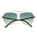 Tom Ford Women Binx FT-0681-28P Sunglasses Gold Aviator Green Gradient Lens 2N