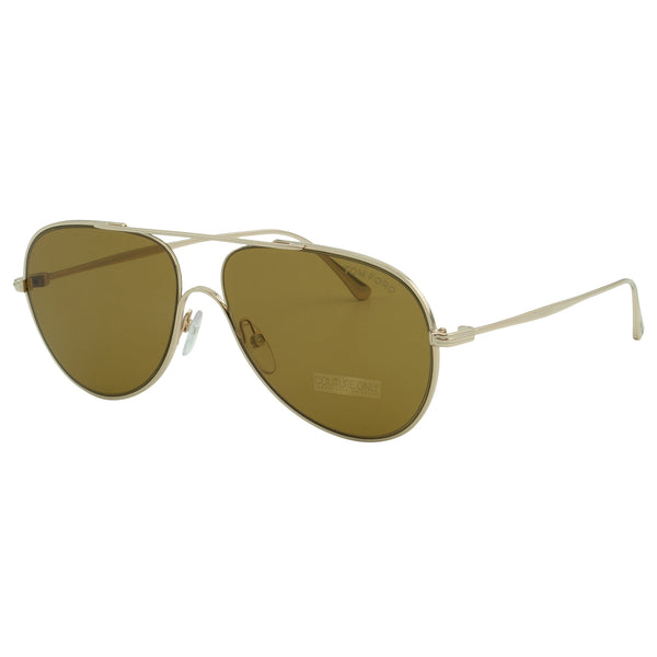 Tom Ford Men Anthony FT-0695-28E Sunglasses Gold Aviator Brown Smoke Lens 2N