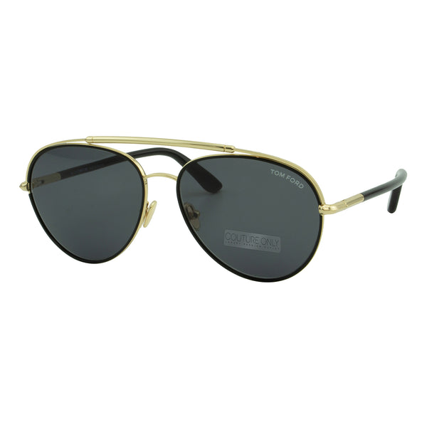 Tom Ford Men Curtis FT-0748-01A Sunglasses Black Gold Aviator Gray Smoke Lens 3N