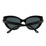 Tom Ford Women Anya FT-0762-01A Sunglasses Black Cat Eye Gray Smoke Lens 3N