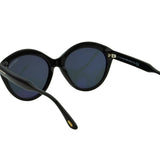 Tom Ford Women Maxine FT-0763-01A Sunglasses Black Cat Eye Gray Smoke Round Lens 3N