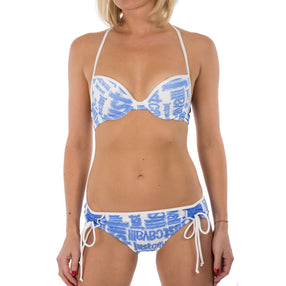 Just Cavalli  Blue Logo Printed Enhanced Push-Up Two Piece Swimsuit