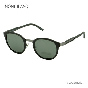 Montblanc  Signature MB590 97Q Round Pantos Dark Green & Flash Lenses Sunglasses