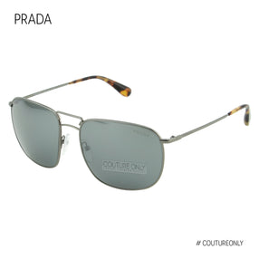 PRADA Men Sunglasses Gunmetal Grey Mirrored Silver Square Aviator SPR52TS 5AV-7W1