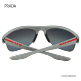 PRADA SPORT Linea Rossa Active Men Sunglasses SPS-17U Gray Rubberized Frame 3P Polarized Dark Grey Lens 449-9R1
