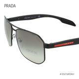 PRADA Men Black Rectangular Aviator Pilot Sunglasses Linea Rossa SPS-51V 1B0-5O0