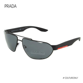 Prada Sport Active Sunglasses PS-56US DG05Z1 Black Rubberized Frame Polarized Grey Lens 66mm