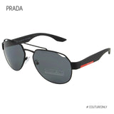 PRADA SPORT Men Aviator Sunglasses SPS-57U Linea Rossa Black Rubber Coated Frame Gray Polarized DG0-5Z1