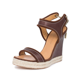 Dsquared2  Brown Leather Back Laced Wedges  8 / 38