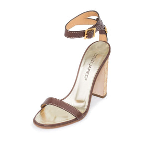 Dsquared2  Brown Leather Block Heel Dress Sandals