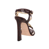 Dsquared2  Brown Crocodile Embossed Leather Sandals 8 / 38