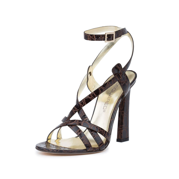 Dsquared2  Women Brown Crocodile Embossed Leather Slim Heel Dress Sandals