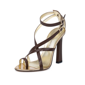 Dsquared2  Women Brown Lizard Embossed Leather Toe Ring Strappy Dress Sandals
