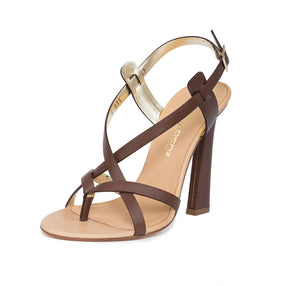 Dsquared2  Women Brown Leather Split Toe High Heel Dress Sandals