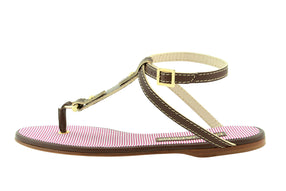 Dsquared2  Brown Leather & Textile T-Strap Flat Sandals