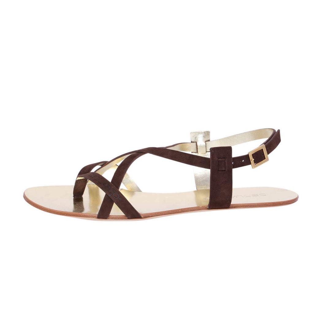 Dsquared2 Brown Suede Gladiator Flat Sandals