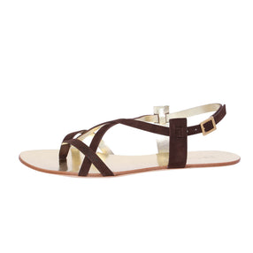 Dsquared2  Women Brown Suede & Gold Leather Gladiators Flat Thong Sandals