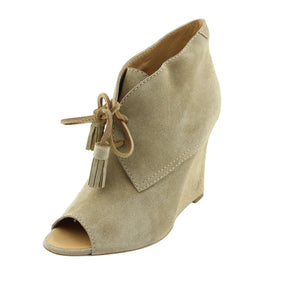 Dsquared2  Women Nude Suede Peep-Toe Lace Up Booties