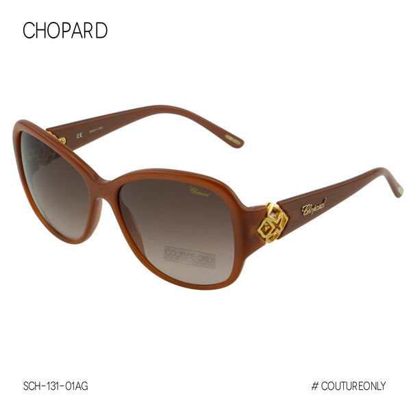 Chopard  Imperiale SCH-131-01AG Women Brown & Gold Precious Jewelled Sunglasses, Non-Polarized