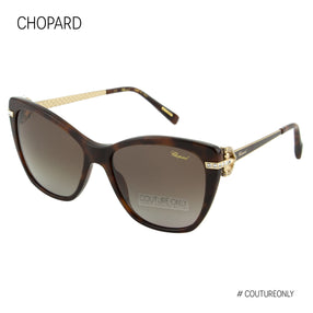 Chopard Imperiale SCH 232S 9XKP Women Brown & Rose Gold Metal Crystals Cat Eye Polarized Sunglasses