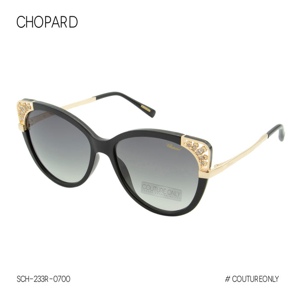Chopard Imperiale Zircon Jewels SCH-233R Women Cat Eye Sunglasses Black & Gold frame Non-Polarized