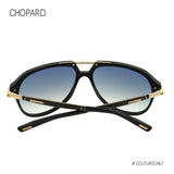 Chopard SCH-264-703B Black & Gold Men Sunglasses Carbon Fiber Temples Aviator Silver Gradient Mirror Lens