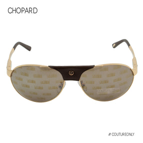 Chopard UAE National Day Limited Edition SCH-A25-08FC Aviator Men Sunglasses Gold 23K GP Brown Trim Pilot Mirrored Non-Polarized 60mm