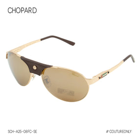 Chopard UAE National Day Limited Edition Men SCH-A25-08FC Aviator Sunglasses Gold 23K GP Brown Pilot Mirrored Non-Polarized