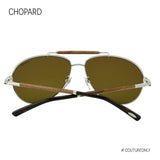 Chopard SCH B36V 579Z Men Brown & Silver Metal Wood Brow Bar Polarized Aviator Sunglasses