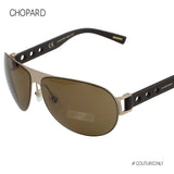 Chopard SCH-B83-8ADP Aviator Men Sunglasses Mille Miglia Racing Gold Brown Leather Polarized