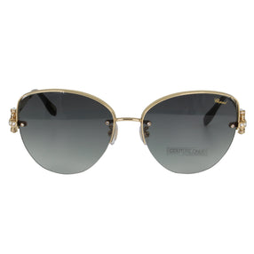 Chopard Imperiale SCH C18S 0301 Women Gray & Rose Gold Metal Semi-Rimless Crystals Cat Eye Sunglasses