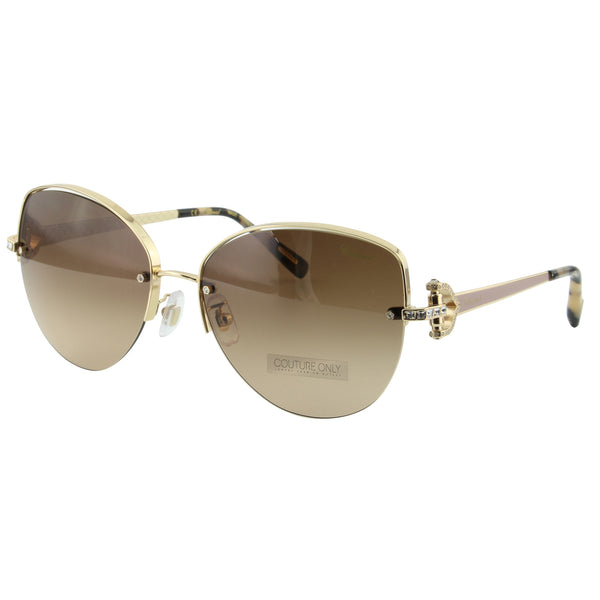 Imperiale SCH C18S 0358 Women Brown & Rose Gold Metal Semi-Rimless Crystals Cat Eye Sunglasses