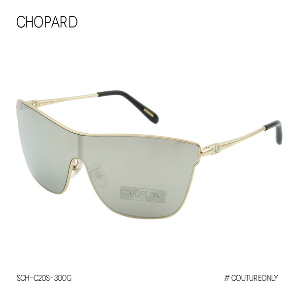 Chopard SCH-C20S Women Gold Shield Sunglasses / Smoke Gray Mirror Lens - Imperiale Collection
