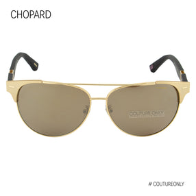Chopard Mille Miglia SCH C32 349Z Aviator Men Sunglasses Black Rubber & Gold Polarized Pilot 60mm