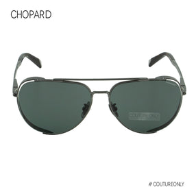 Chopard Classic Aviator Men Sunglasses SCH-C33M-0584 Gunmetal Titanium Gray-Green Non-Polarized Lens