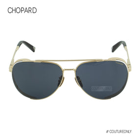 Chopard Classic Aviator SCH-C33M-349X Men Sunglasses Gold Titanium / Blue Smoke Gray Lens Non-Polarized