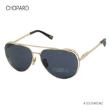 Chopard SCH-C33M-349X Men Gold Titanium Aviator Sunglasses Blue Smoke Gray Non-Polarized Japan