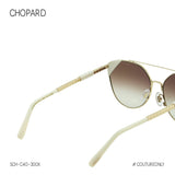 Chopard Ice Cube SCH-C40 Women Cat Eye Sunglasses Gold Frame White Ceramic Cube Gradient Mirror Lens