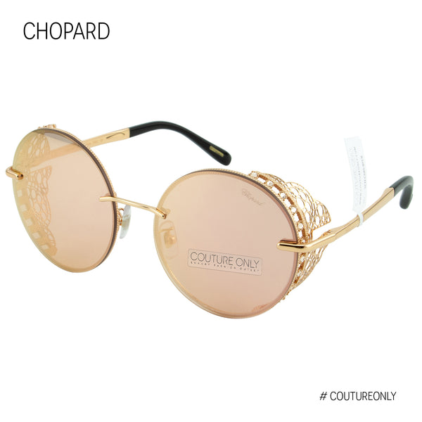 Limited Edition SCH C68S 8FCR Women Pink Mirror & 23K Rose Gold Metal Lace Round Sunglasses