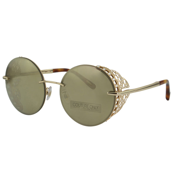 Chopard Limited Edition SCH C68S 300G Women Gold Mirror & 23K Rose Gold Metal Lace Round Sunglasses