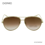 Chopard Imperiale SCH-C86M-8FEG Women Gold Titanium Brown Aviator Pilot Sunglasses