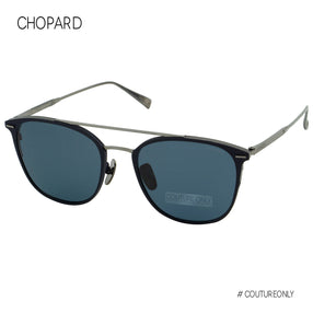 Chopard SCH C96M K53P Men Sunglasses Blue Gunmetal Pantos Round Double Bridge Titanium Polarized