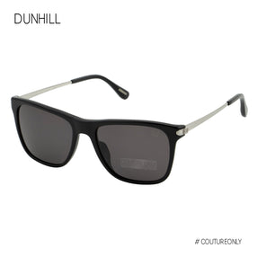 Dunhill Black Silver Men Square-Aviator Sunglasses SDH-005-700P Gray Lens 3P Polarized