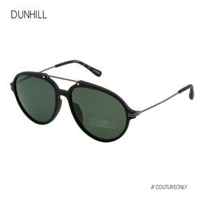Dunhill Black Gunmetal Wire Aviator Sunglasses SDH-104-703P Green Lens Top Bar Polarized
