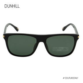 Dunhill Men Sunglasses Black Gold Square-Aviator SDH-194M-700P Green Lens 3P Polarized