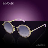 Swarovski SK0199 32T Moselle Mask Women Gold & Gradient Purple Crystal Embelished Round Sunglasses 57mm